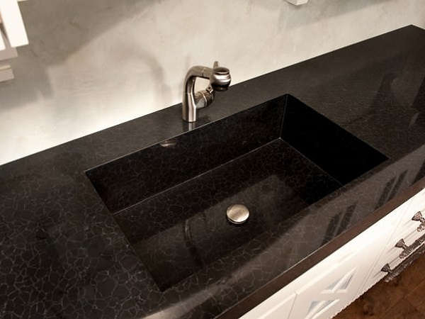 Caesartone black slab on countertop