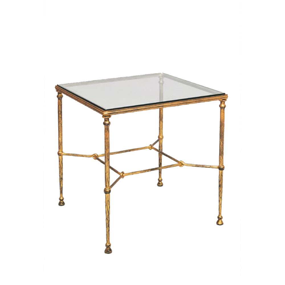 Square Iron Side Table With Glass Top