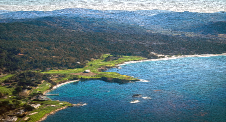 Pebble Beach view from the air near Monterey Airport